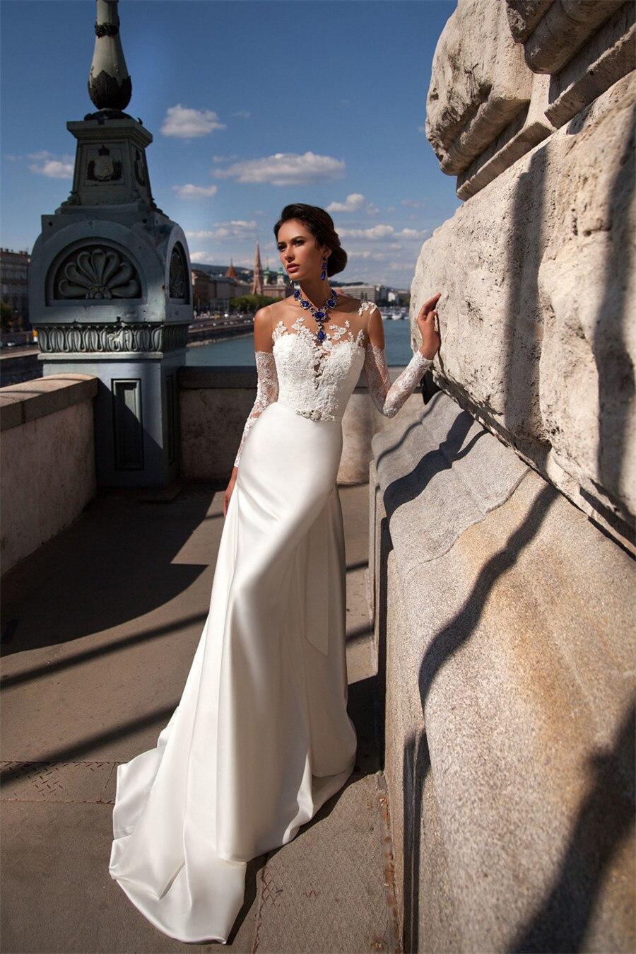 Sophisticated Sheer Top Applique Lace Long Sleeves Debora Wedding ...