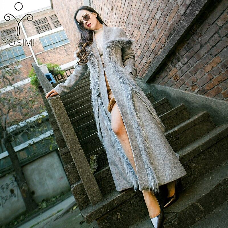 907b8cb78 YOSIMI 2018 invierno Maxi elegante lana larga Mujer abrigo ropa de abrigo  de lana larga falda estilo ...