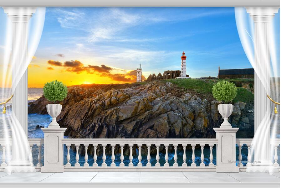 3d Large Wall Mural Wallpaper Hd Balcony Window Beach Sea: Online Buy Wholesale Lighthouse Wall Murals From China
