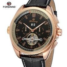 Forsining Men's Watch High End Trendy Automatic Calendar  Leather Strap New Design Tourbillion Wristwatch Color Black FSG9411M3