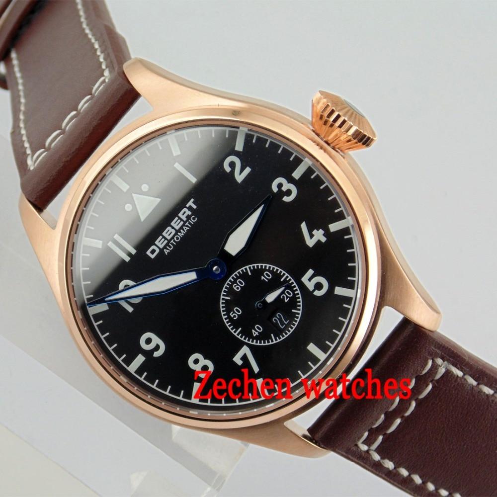 Debert 42mm Black Dial Luminous Sapphire Glass Automatic Date Day Men Watch
