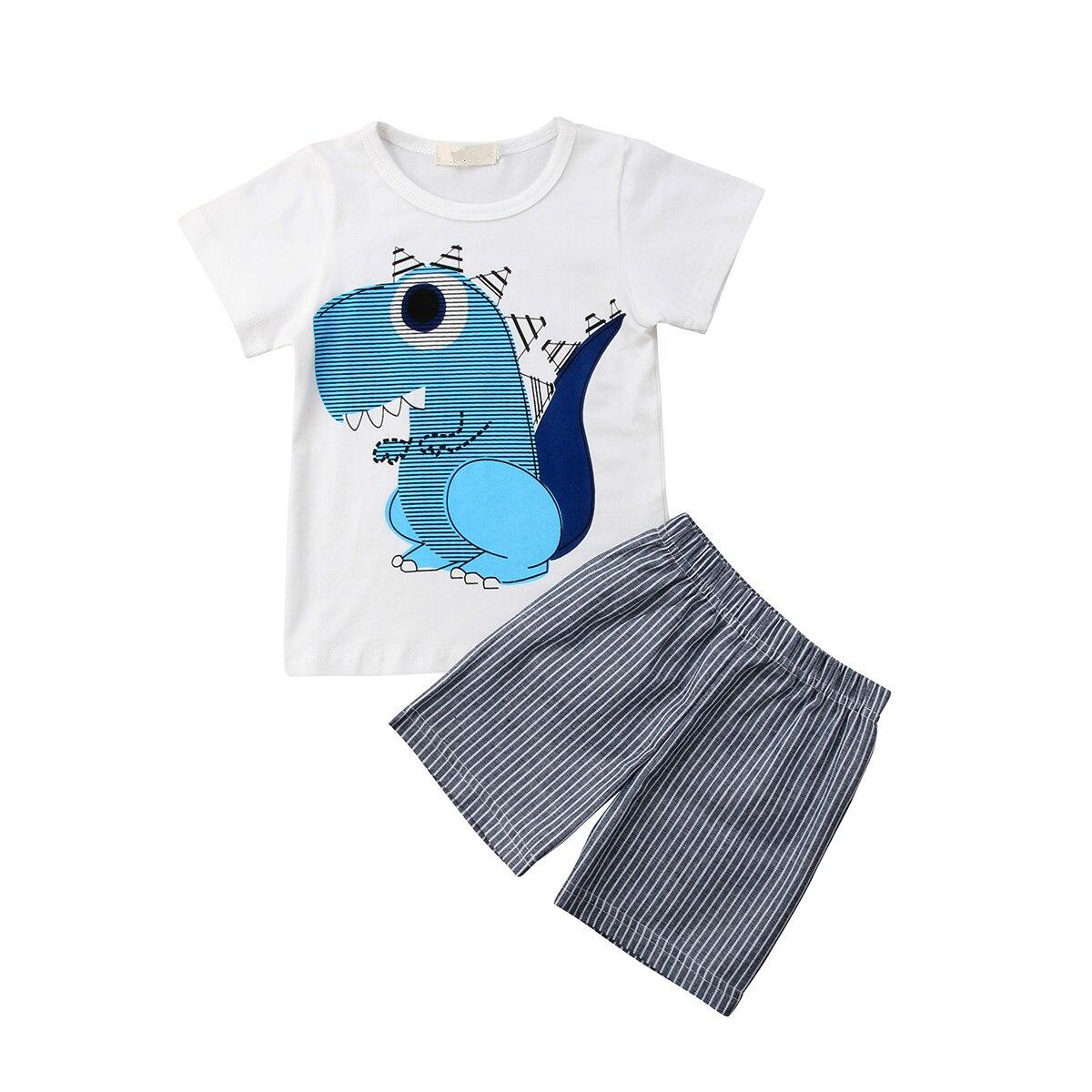 2 шт. детские мальчик милый динозавр короткий рукав Футболка + однотонные шорты летние хлопковые Повседневная одежда комплект