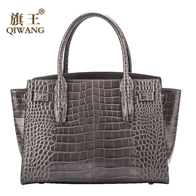 Qiwang Gray Brand Luxury Elegant Top Handle Bags Trapeze Women  Tote Handbags 100% Genuine Leather Bag with Belt