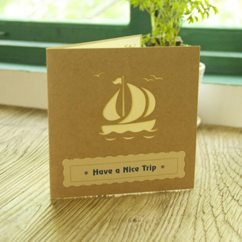 3D Pop Up Greeting Card Handmade Ship Birthday Easter Anniversary Christmas Bless Card Gift 3pcs lot in Cards Invitations from Home Garden