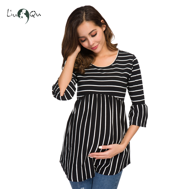 Ruffle Maternity Tops Loose Pregnancy Blouse Striped T-shirt Tunic 3 Quarter Casual Maternity Clothes Pregnant Womens Clothing 3