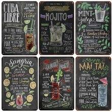 [InFour+] MOJITO CUBA LIBRE Коктейльные металлические вывески домашний декор винтажные оловянные вывески для паба домашние декоративные тарелки металлический знак настенные таблички