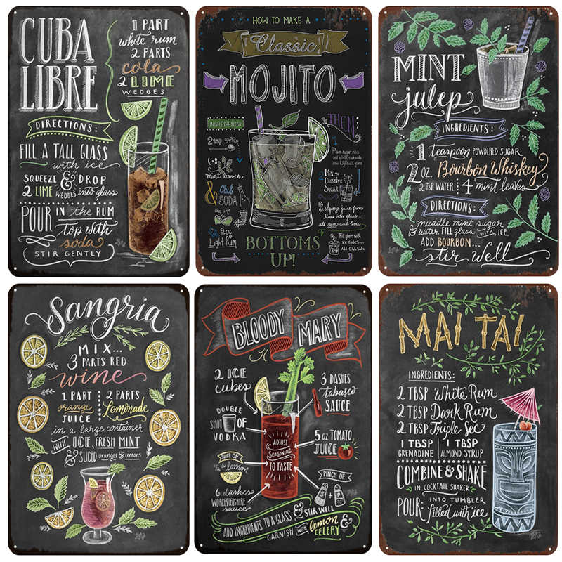 [inFour+] MOJITO CUBA LIBRE Cocktail Metal Signs Home Decor Vintage Tin Signs Pub Home Decorative Plates Metal Sign Wall Plaques