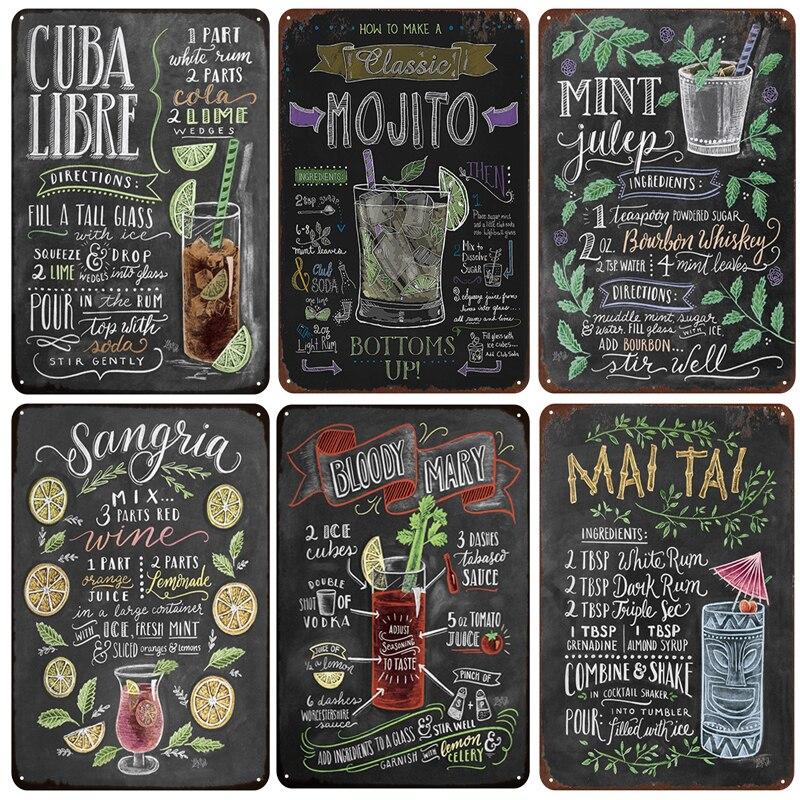 [inFour+] MOJITO CUBA LIBRE Cocktail Metal Signs Home Decor Vintage Tin Signs Pub Home Decorative Plates Metal Sign Wall Plaques