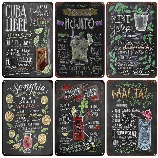 Placas de recomendacion vintage CUBA LIBRE