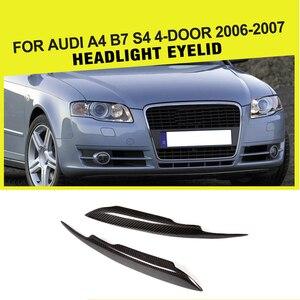 Carbon Fiber Racing reflektor brwi obejmuje powieki wykończenia pasuje do Audi A4 B7 S4 Sline 4-Door 2006 2007 Car Styling
