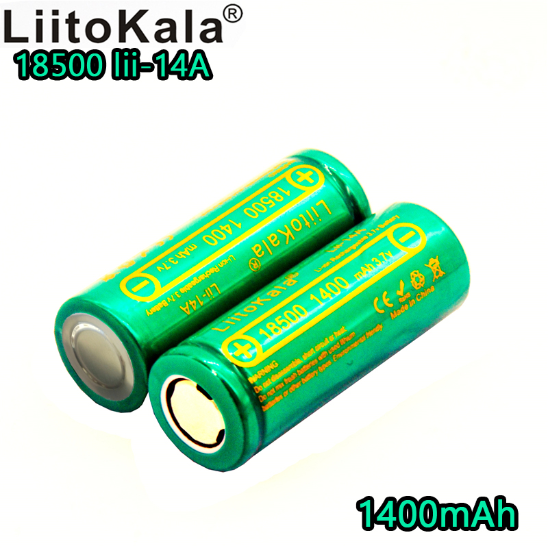 Liitokala <font><b>Li</b></font>-14A <font><b>18500</b></font> rechargeable lithium <font><b>battery</b></font> 1400mAh <font><b>3.7V</b></font> lithium <font><b>ion</b></font> <font><b>battery</b></font> for LED flashlight 1C discharge image