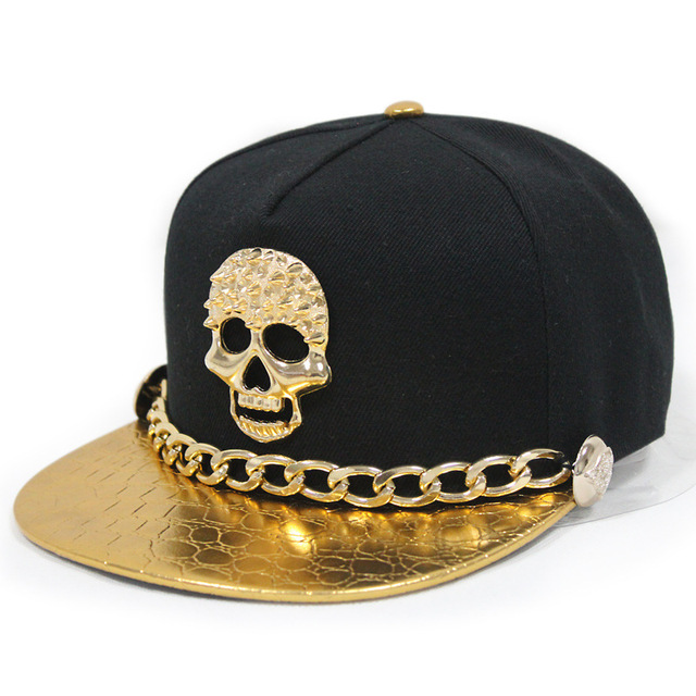 2015 New West Unisex Punk Leather Snapback Hat With Gold Chain Rivet Buttons Skull Hip-Hop Baseball Cap Flat-Brimmed Hat 6 Color