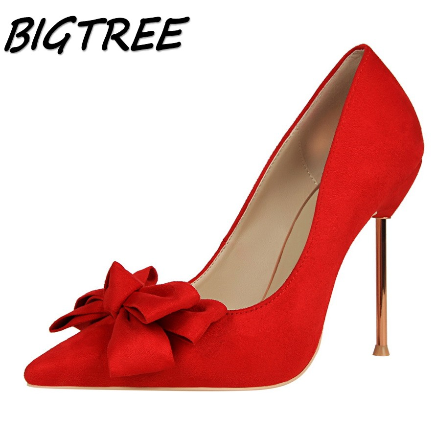 BIGTREE women Pointed Toe High heel shoes woman shallow Butterfly-knot pumps ladies Party Wedding flock Metal heels shoes bigtree summer fashion women high heels sandals suede shallow mouth pointed pearl ladies sandals sexy wedding red woman shoes