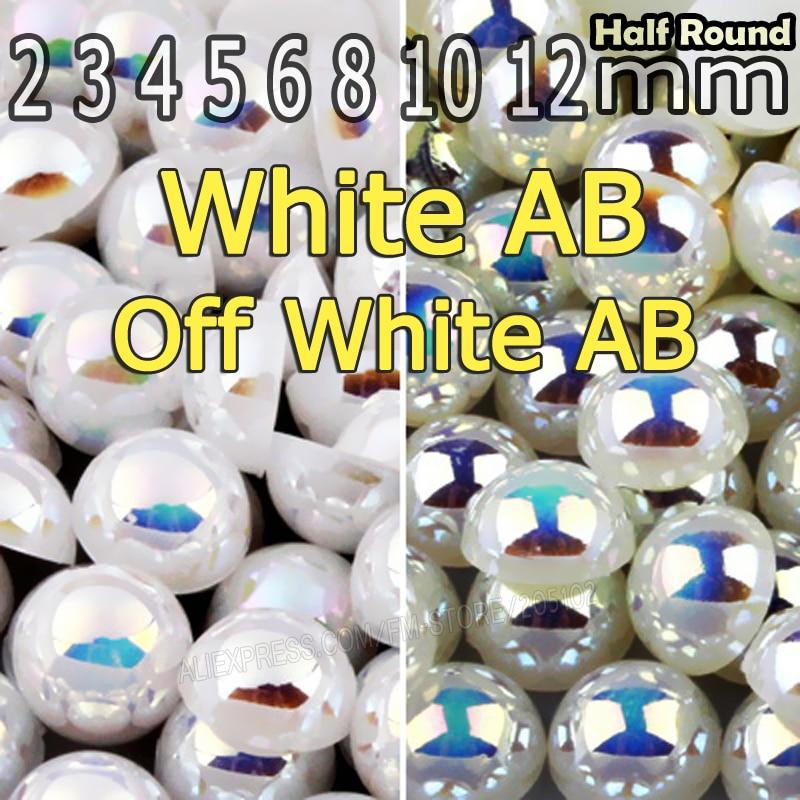 Off White бежевый ab и белый AB полукруглый плоской задней жемчужные бусы Mix Размеры 2 3 4 5 6 8 10 мм ABS искусственный жемчуг для DIY Дизайн ногтей