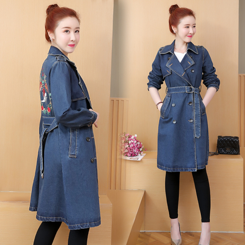 Plus Size Coats Women Embroidered Long Denim Cardigan New Spring Fashion Female   Trench   Coat Double Breasted Windbreaker Overcoat