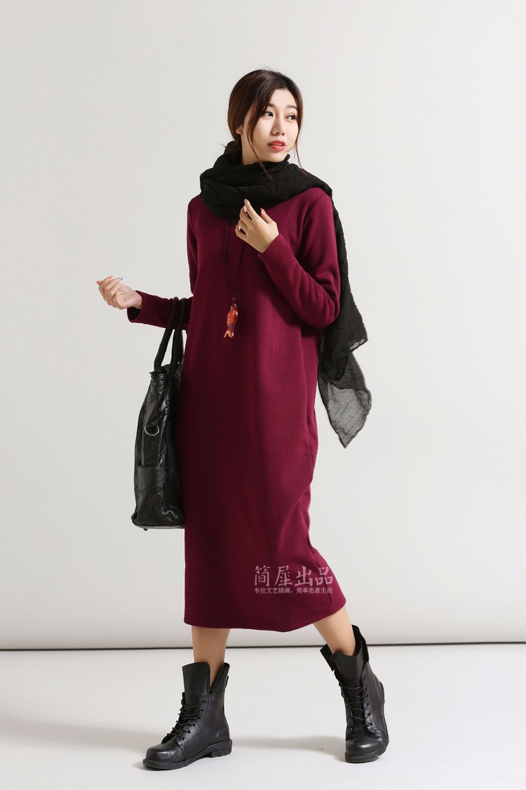 SCUWLINEN Winter Dress 17 Vestido Women Dress Plus Size Velvet Thickening Thermal Basic Dress Long Sleeve Solid Warm Dress S59 3