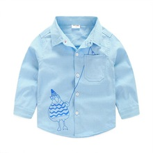 2016 Old Man Fishing Pattern Shirts For Boys Fashion Cotton Long Sleeve Blue White Pink Colours Blouse For Boys In School ss038
