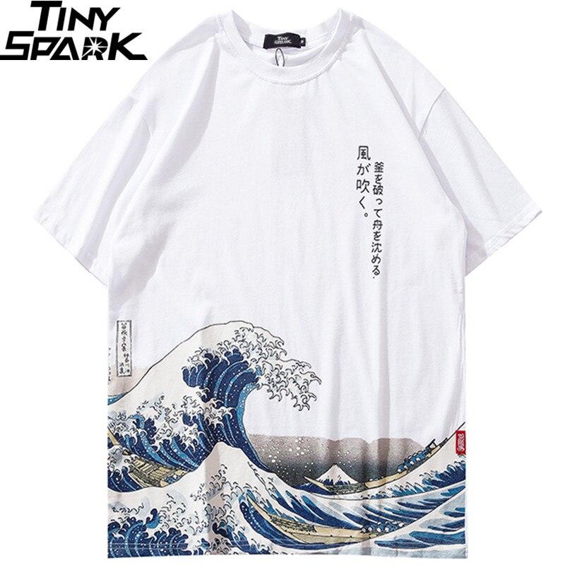 2019 Hip Hop   T     Shirt   Men Harajuku Kanji   T  -  Shirt   Cartoon Wave Ukiyoe Streetwear Tshirt Cotton Short Sleeve Summer Tops Tees White