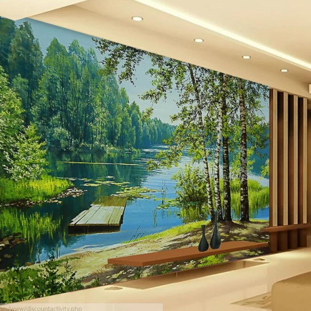 3D HD Photo Green Tree Lake Mural Wallpaper For Living Room Bedroom Walls Decor Landscape Painting Wall Papers Plants Murals