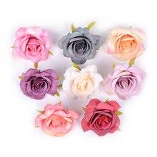 5 шт./лот, искусственный цветок, Шелковая Роза, голова для свадьбы, вечерние украшения, сделай сам, гирлянда, скрапбук, обувь, шляпа, цветок розы