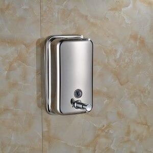 Image 2 - Wall Mount 500ml Stainless Steel Bathroom Shampoo Liquid Soap Dispenser Chrome Finish