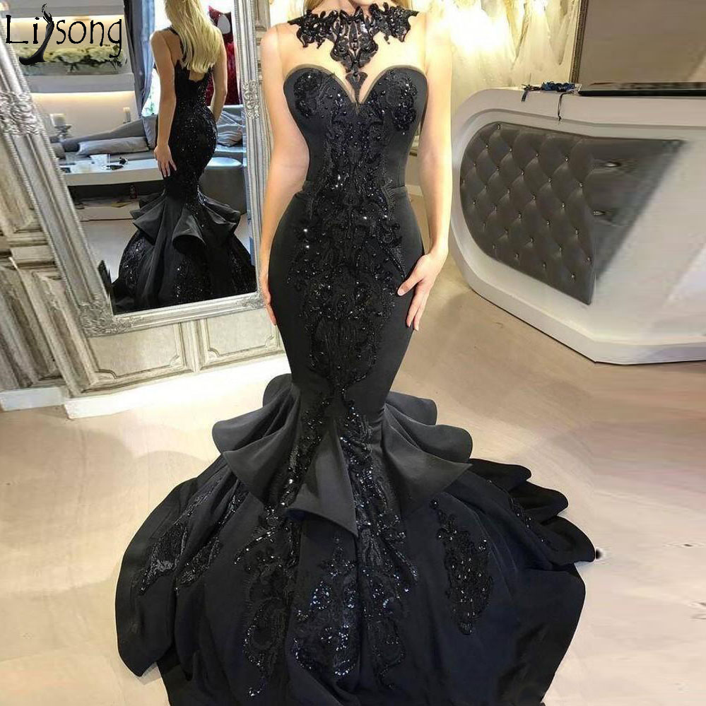 2018 New Stunning Black Long Evening   Dress   Beaded Appliqued Cascading Ruffled Mermaid   Prom     Dress   Backless Formal Party Gowns