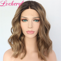 Dark Roots Ombre Wigs for Women Brown Wig Synthetic Lace Front Wig Short Bob Wavy Hair 150% Density Heat Resistant Fiber