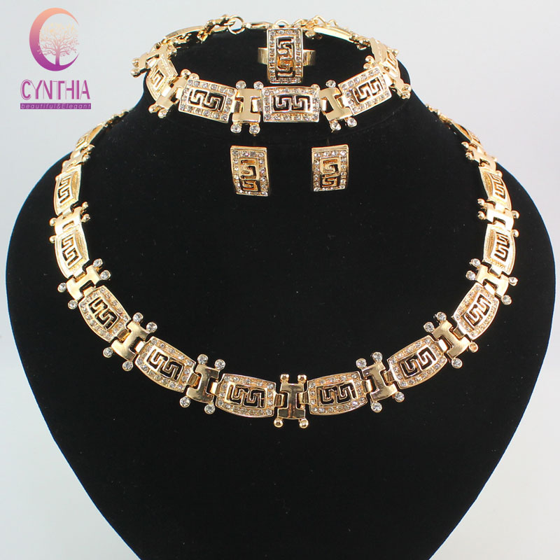 High quality Fashion Dubai Gold color Totem crystal necklace Jewelry