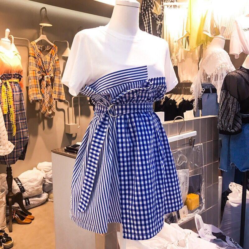 Vogue High Waist Bandage Patchwork Plaid Dresses Women Fake Two Pieces 2018 Summer New Korean Style Casual Dress Female Vestidos