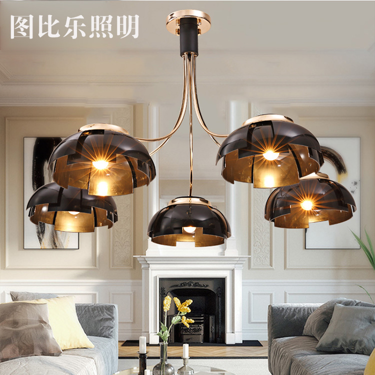modern American style industrial pot cover chandelier golden glass bedroom dining room lamp american country industrial glass pot pendent lamp