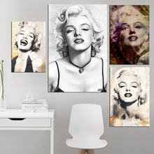Black White Marilyn Monroe Poster Art Print Classic Scroll Canvas Picture Painting Artwork Wall for Living Room