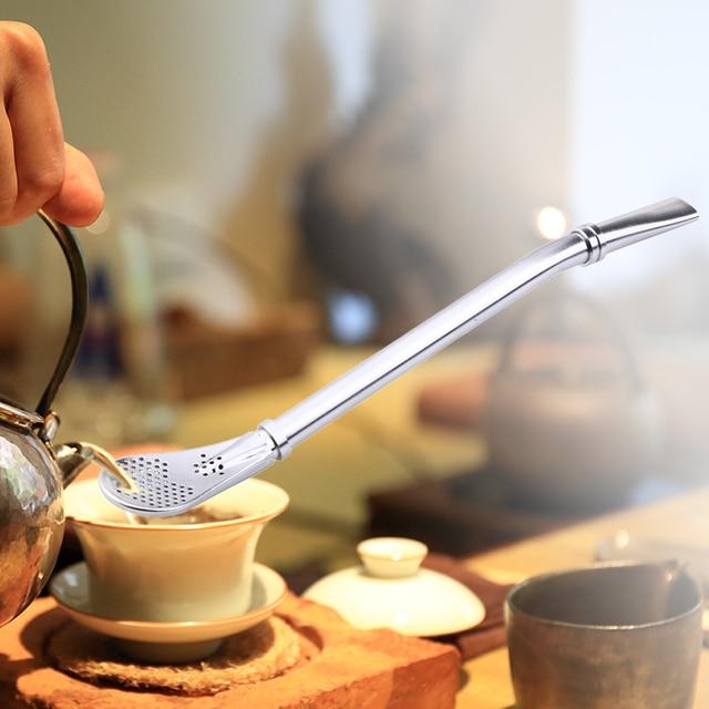 Thép không Gỉ Uống Rơm Muỗng Trà Lọc Yerba Mate Trà Ống Hút Bombilla Bầu Tái Sử Dụng Trà Công Cụ Bar Phụ Kiện