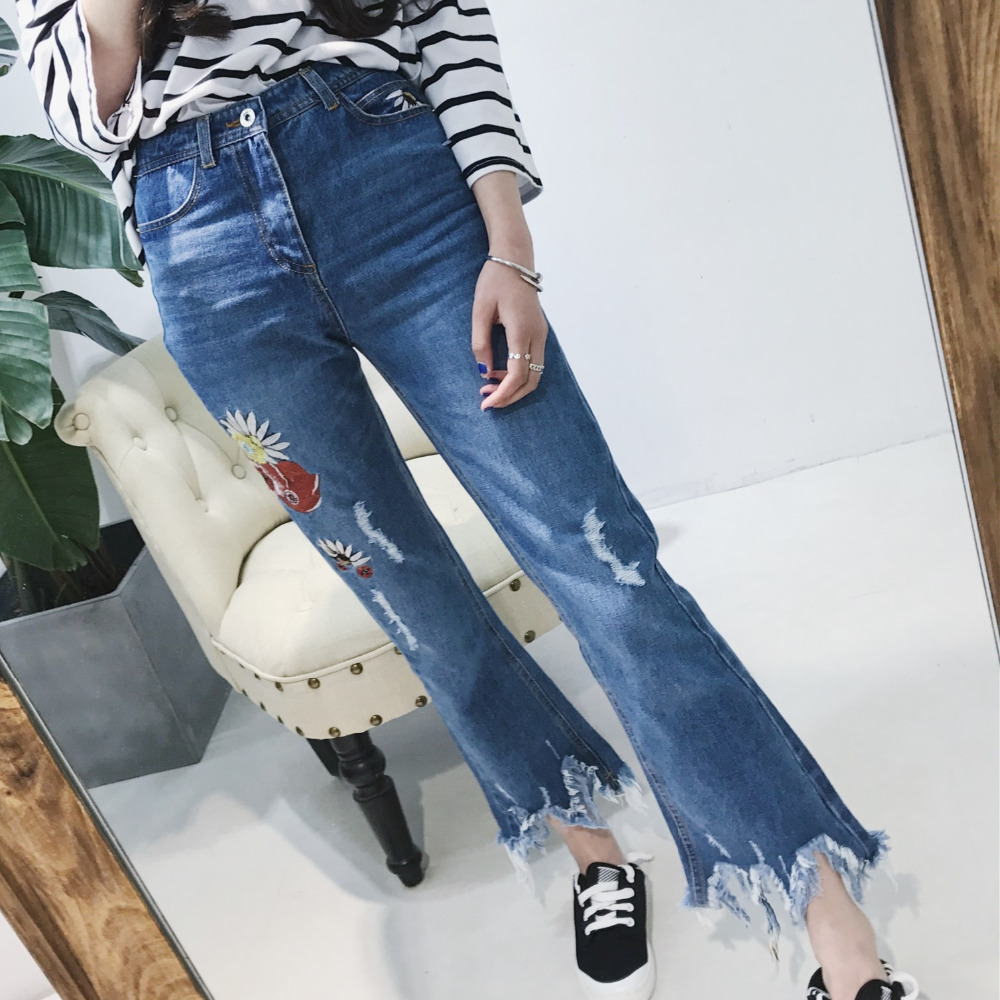Floral Embroidery Ripped Hole Fringe Light Blue Women Jeans Denim Skinny Flare Pants Casual 2017 Fashion Ankle-Length Trousers new summer vintage women ripped hole jeans high waist floral embroidery loose fashion ankle length women denim jeans harem pants