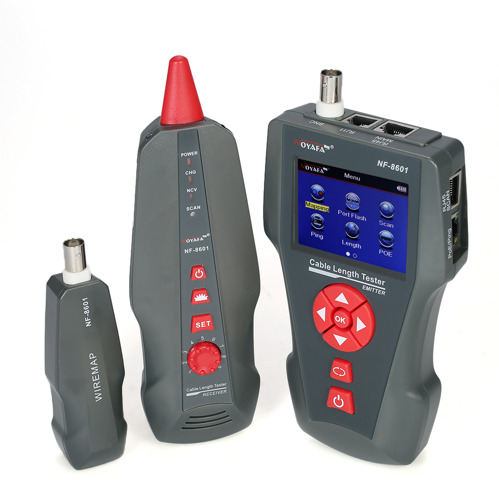 Многофункциональный ЖК дисплей сетевой кабель тестер Провода трекер RJ11 RJ45 BNC Провода Длина Finder с 1 дистанционного адаптер Ping и POE тестирован