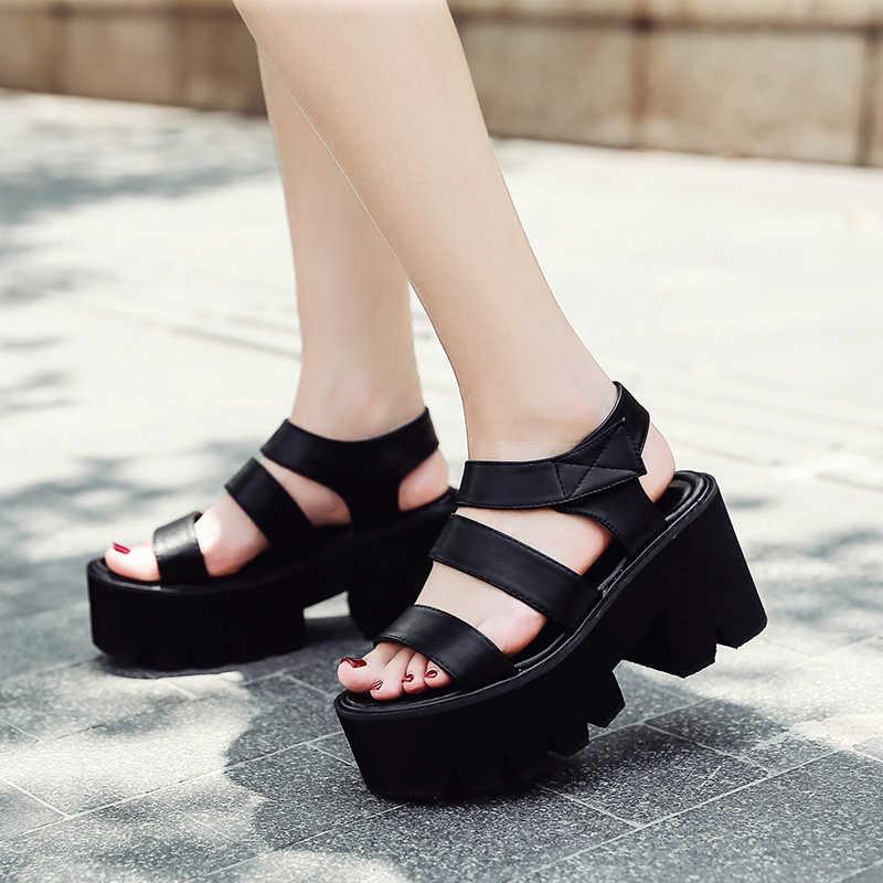Casual Sandals Toe Gothic Thick Black Heel Punk Shoes Women Open Rock Summer High Platform shQrdtCxB