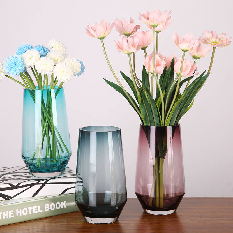 Modern Creative Glass Flower Vase Ornaments Transparent Stained