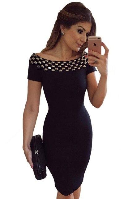 2017 New Women Bodycon Dress Summer Short Sleeve Studded Neck Ladies Office Off Shoulder Pencil Midi Dresses LC61188