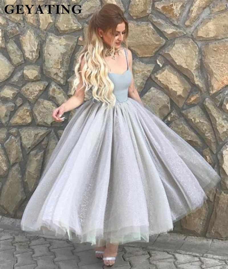 e8f9b25eeaa ... Vintage Silver Grey Short Prom Dresses 2019 Glitter Spaghetti Straps  Tea Length Party Gowns Tulle Ball ...