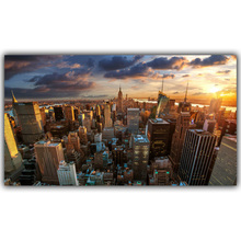New York Hong Kong World City Building Night Landscape Poster Print Silk Fabric Home Decoration Wallpaper