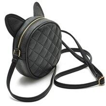 Good Quality Leather Mini font b Women b font Messenger Bag Circle Crossbody Bags Cat Ear