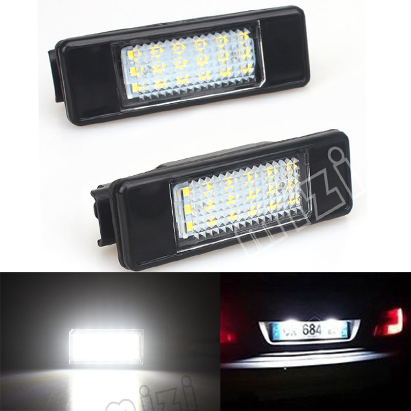 2pcs 18SMD Number License Plate Light Car LED Lamp Car Styling For Peugeot 106 207 307 308 406 407 508 For Citroen C2 C3 C4 фаркоп peugeot 307 308 2001 citroen c4 2004 без электрики