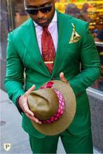 Custom Made Verde Homens Casuais Terno Slim Fit 2 Peça Blazer Personalizado Festa de Casamento Do Noivo Smoking Terno Terno Masculino Jaqueta + calças
