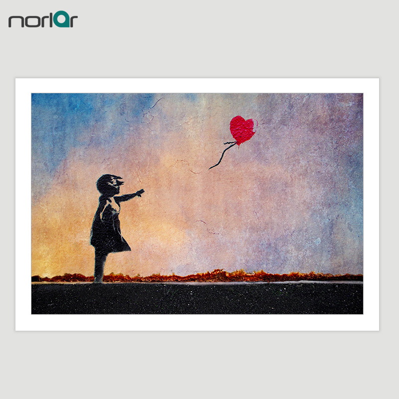 HD-tryckt Bansky Street Art Graffiti Balloon Girl Canvas Målning Poster Väggkonst Picture Home Decor NO Frame