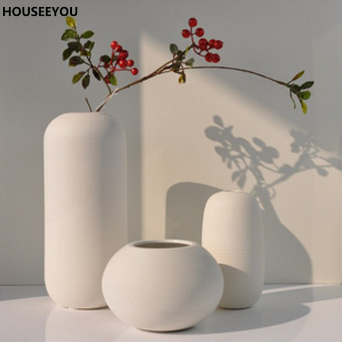 Modern Simple Crafts Decorative Ceramic Vases White Home Decor Tabletop Flower Ornaments For Dining Living Room 3pcs Lots In From Garden