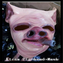 Funny Clown Creepy Pig Masks Cosplay Full Face Halloween Festival Party Rubber Costume Theater Realistic Latex Scary Pig Mask