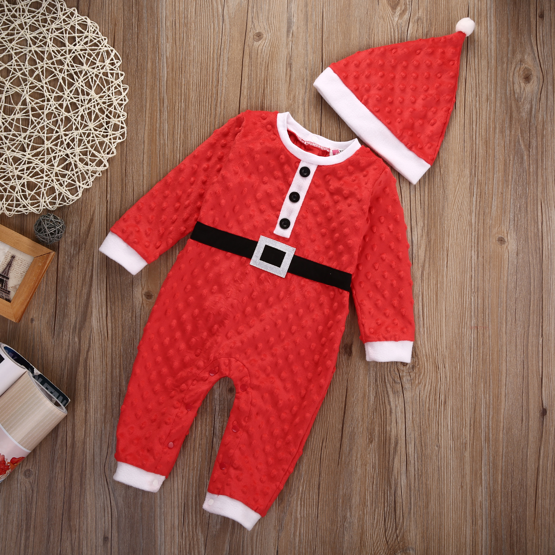 Newborn Girl Boy Christmas Santa Costume Romper Hat 2Pcs Outfit Set Baby Clothes 2pcs set baby clothes set boy