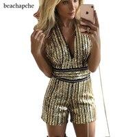 2018 New Summer Rompers Bodysuit Women Golden V Neck Sleeveless Sequined Celebrity Party Jumpsuit
