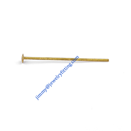 Jewelry Making findings Raw brass metal Head Pins with Round end Scarf Pins jewellry findings 0.6*20mm shipping free