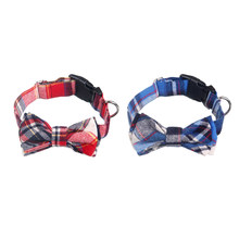 2pcs/pack Fashion Lovely Kawaii Attractive Cute Bow Tie Grid Cat Dog Necklace Choker Pet Supplies Pet Collar for Dog Cat(China)