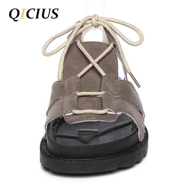 QICIUS Casual Fishrman Women Sandals Lace-up Cross-tied Sandals Women Concise Solid Color Flat With Sandals Shoes Female B0025